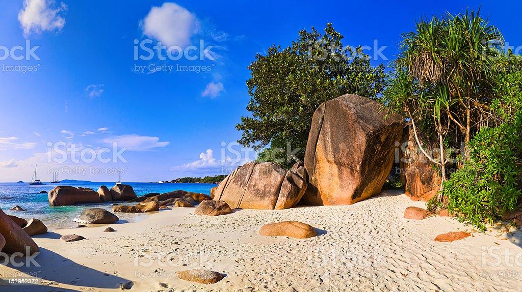 Panorama of beach Anse Lazio, Seychelles royalty-free stock photo