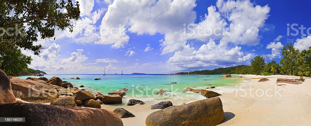 Panorama of beach Anse Lazio, Seychelles stock photo
