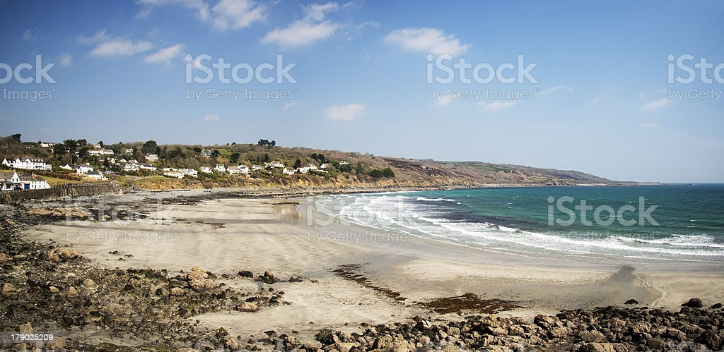 Panorama of beach at low tide Coverack stock photo
