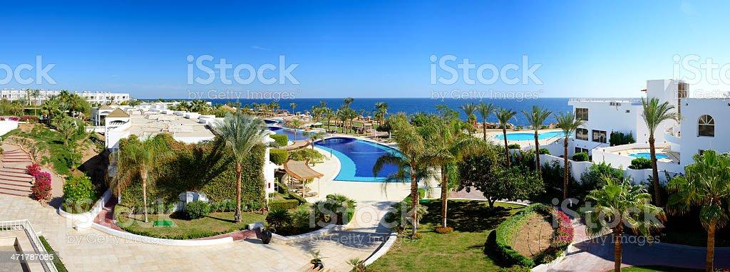 Panorama of beach at luxury hotel royalty-free stock photo