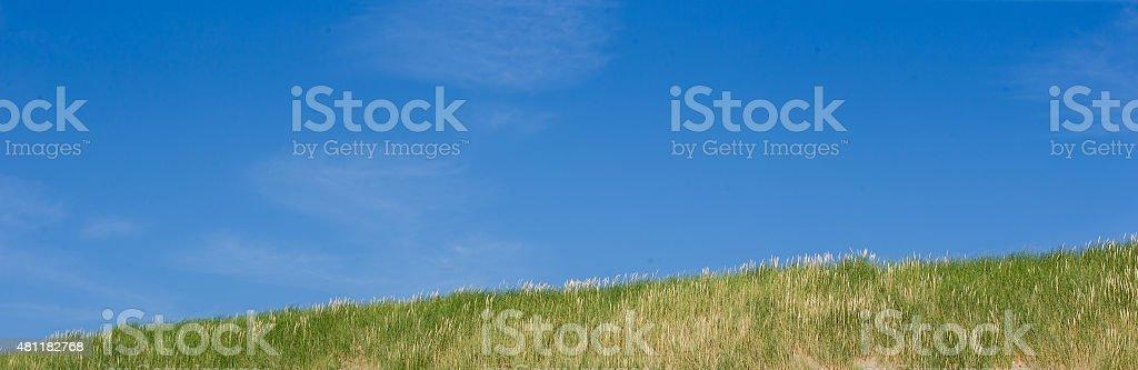 Panorama of Beach coast dunes o a blue sky stock photo
