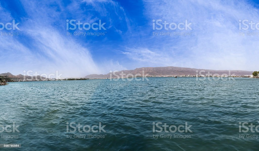 Panorama of beautiful Ana Sagar Lake in Ajmer, Rajasthan, India stock photo