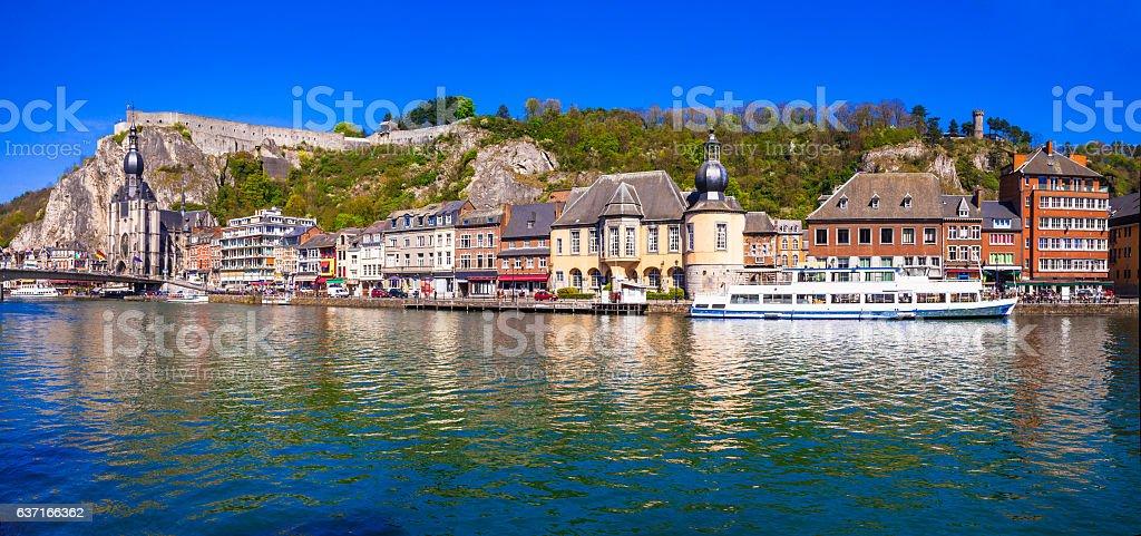 panorama of beautiful Dinant town in Belgium stock photo