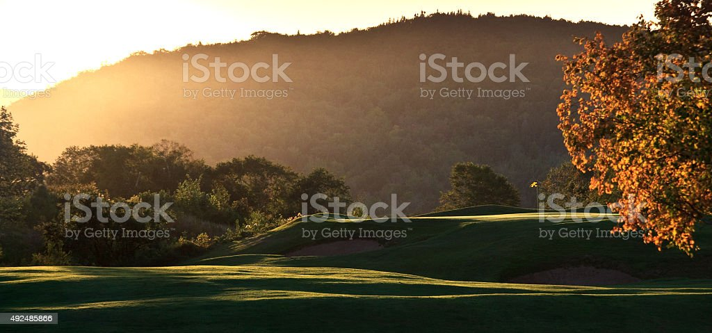 Panorama of Beautiful Golf Course in Fall stock photo