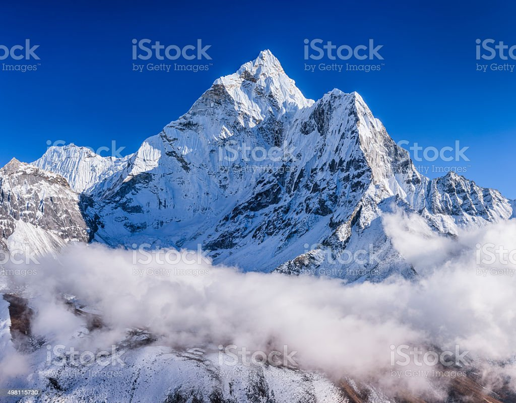 Panorama of beautiful Mount Ama Dablam in  Himalayas, Nepal stock photo