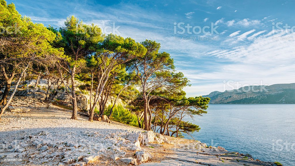 Panorama Of Beautiful Nature Of Calanques On The Azure Coast stock photo