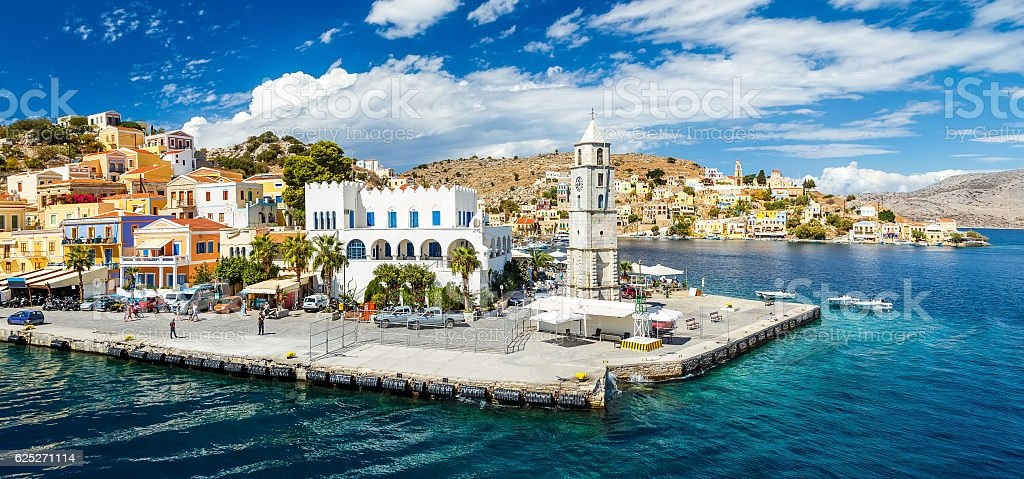Panorama of beautiful summers day on Greek island  Symi stock photo