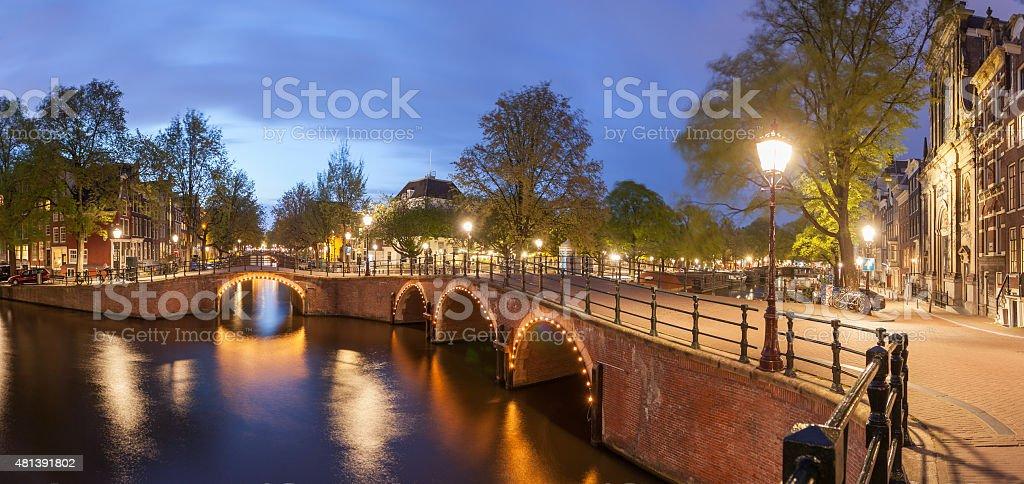 Panorama of beautifull Amsterdam canals with bridge stock photo