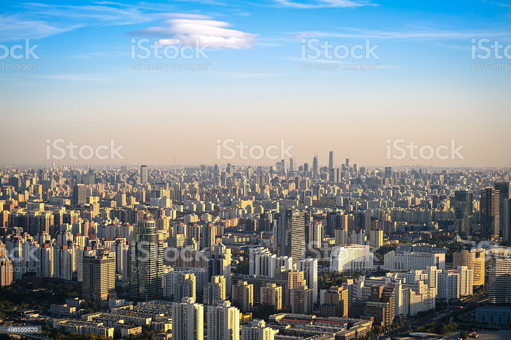 panorama of Beijing at sunset, china. stock photo