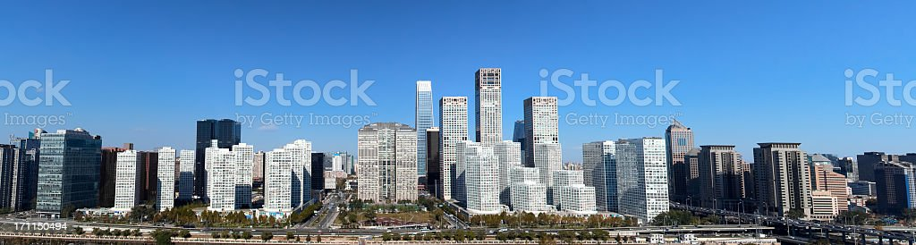 Panorama of Beijing Central Business district buildings skyline, China cityscape stock photo