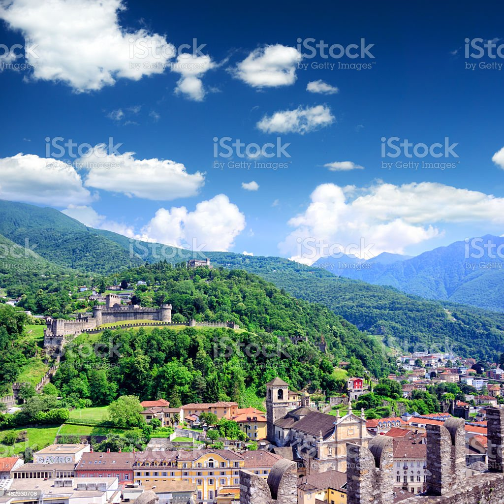 Panorama of Bellinzona stock photo