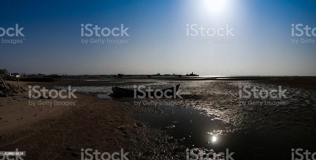 Panorama of Berbera port and beach with boats Somalia stock photo