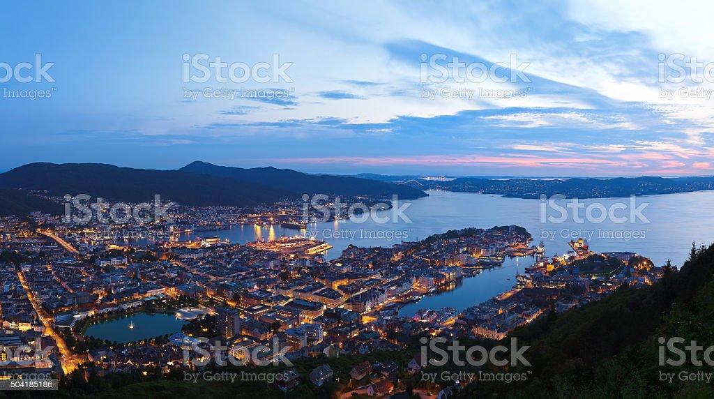 Panorama of Bergen Norway stock photo