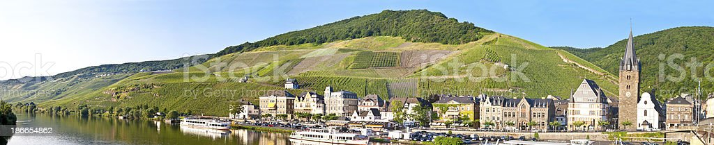 Panorama of Bernkastel at the river Moselle in Germany stock photo