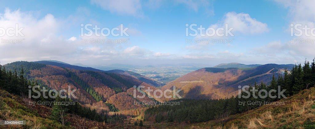 Panorama of Beskydy mountain range, Czech republic stock photo
