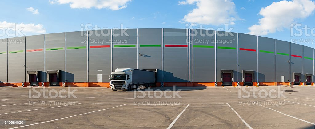Panorama of big industrial warehouse buildings stock photo