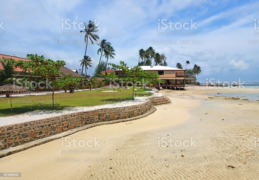 Panorama of Bintan island, Trikora beach at low tide, Indonesia stock photo