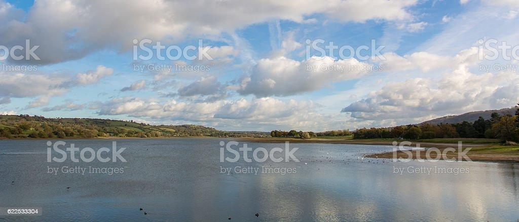 Panorama of Blagdon Lake, Somerset, UK stock photo