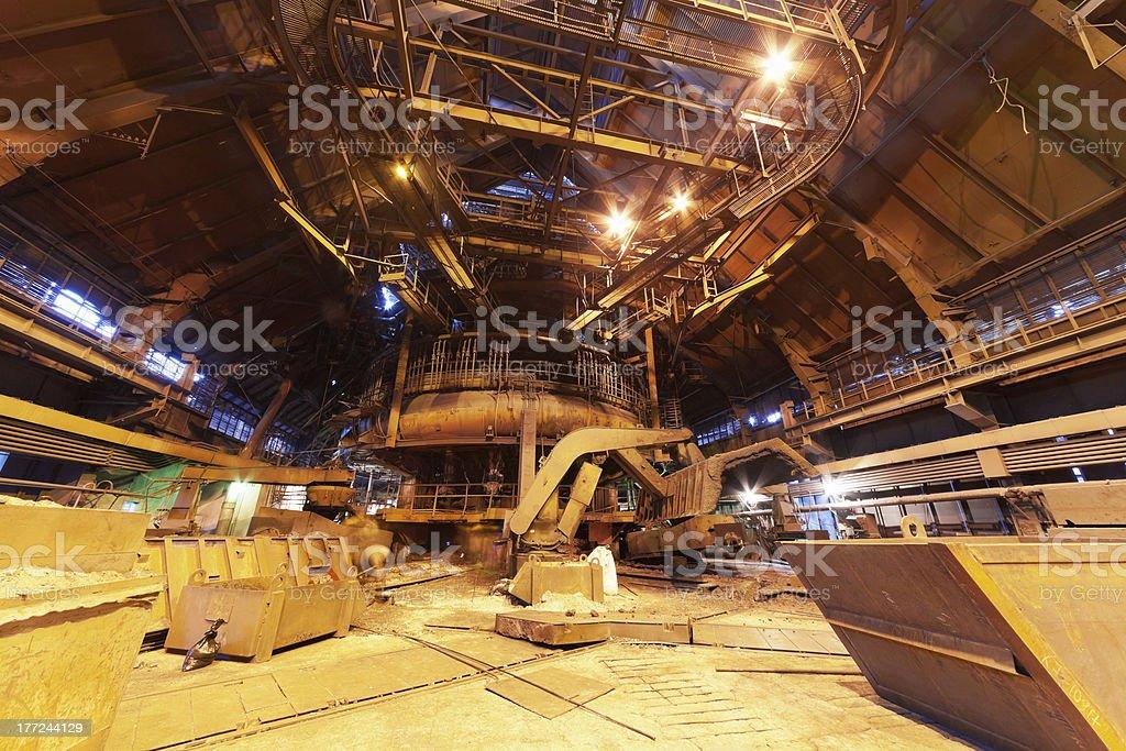 Panorama of blast furnace workshop royalty-free stock photo