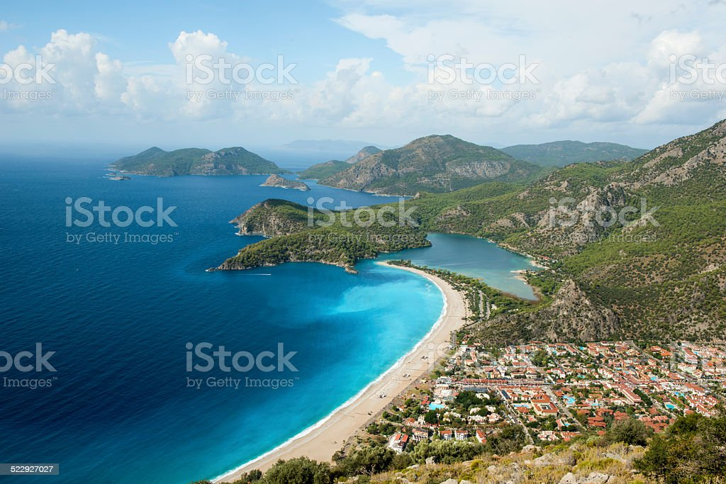 Panorama of Blue Lagoon and beach Oludeniz Turkey stock photo