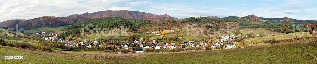 Panorama of Bodina village, Strazovske vrchy, Slovakia stock photo