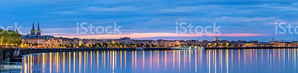 Panorama of Bordeaux in the evening - France stock photo