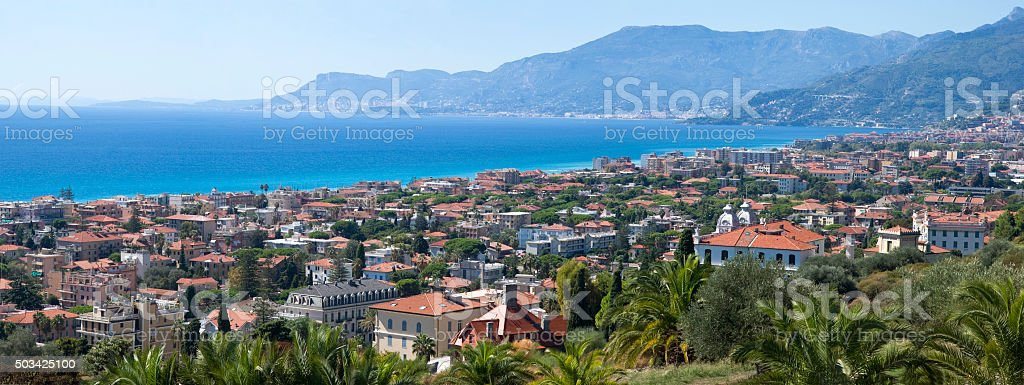 Panorama of Bordighera, Italian Riviera stock photo