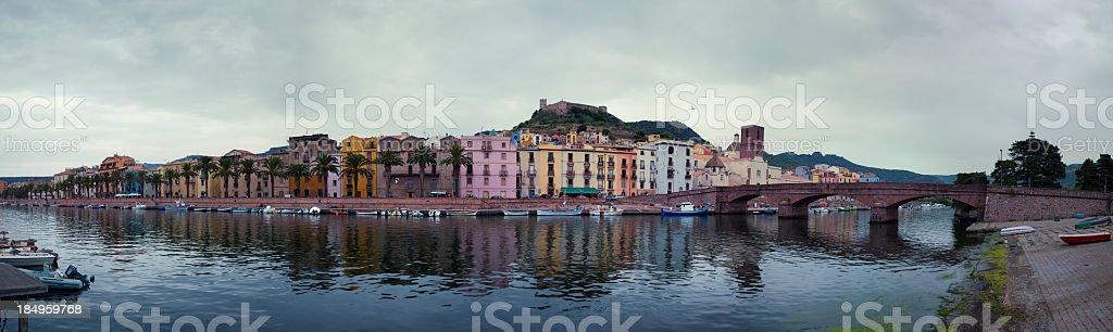 Panorama of Bosa, Sardinia, Italy royalty-free stock photo