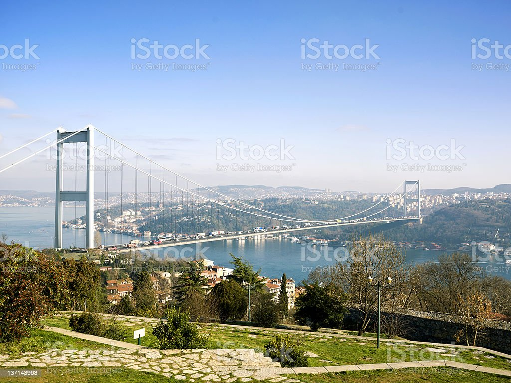 Panorama of Bosphorus Bridge in Istanbul, Turkey royalty-free stock photo