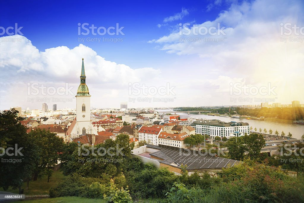 Panorama of Bratislava stock photo