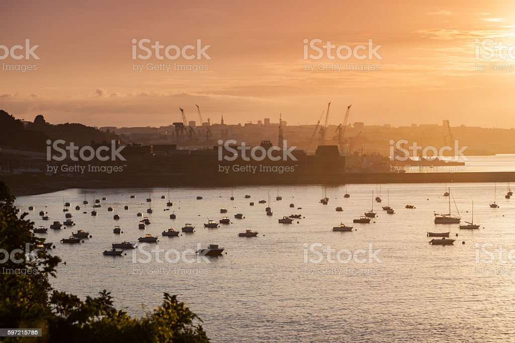 Panorama of Brest at sunrise stock photo