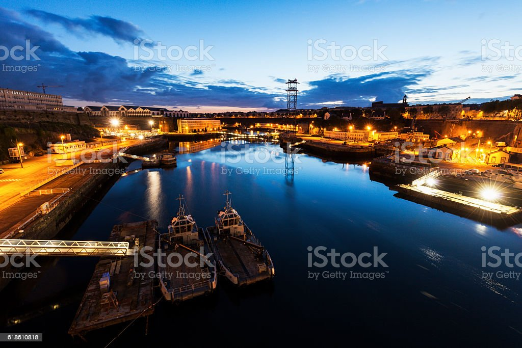 Panorama of Brest with Penfeld River stock photo