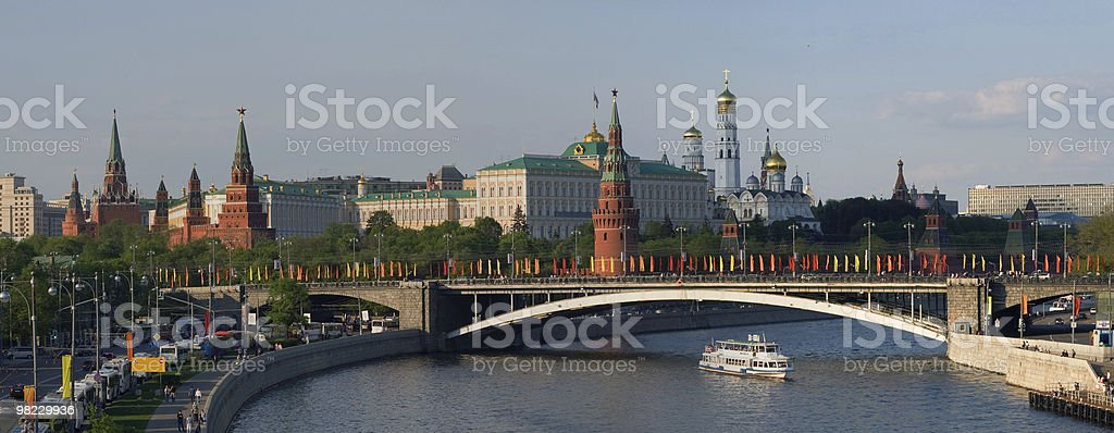 Panorama of bridge and Moscow Kremlin royalty-free stock photo