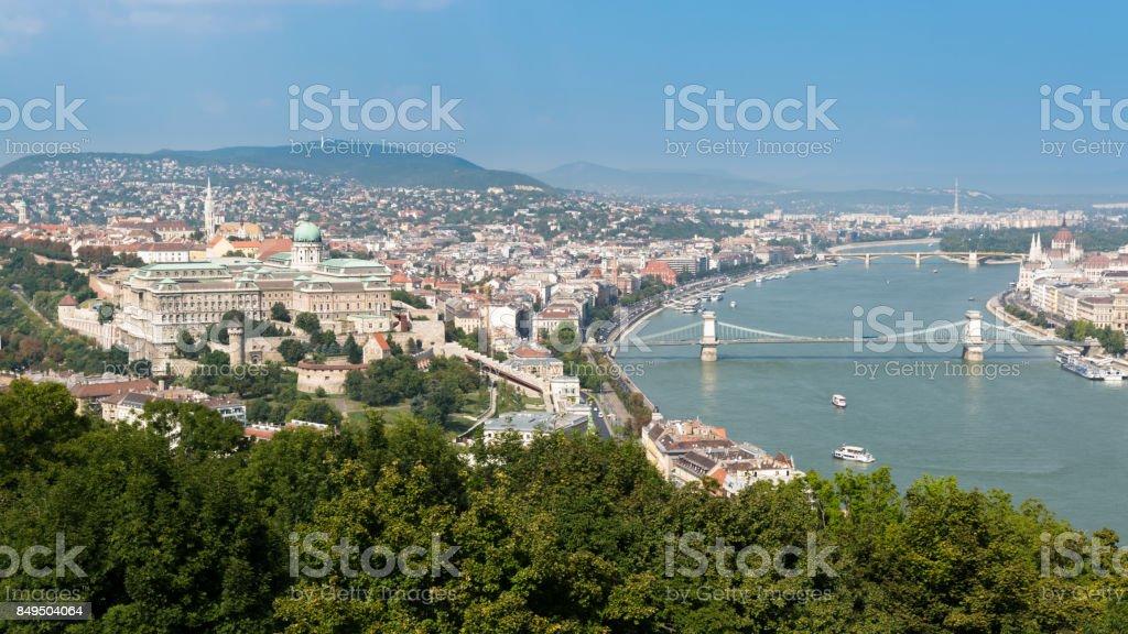 Panorama of Buda Castle and Chain Bridge, Budapest, Hungary stock photo