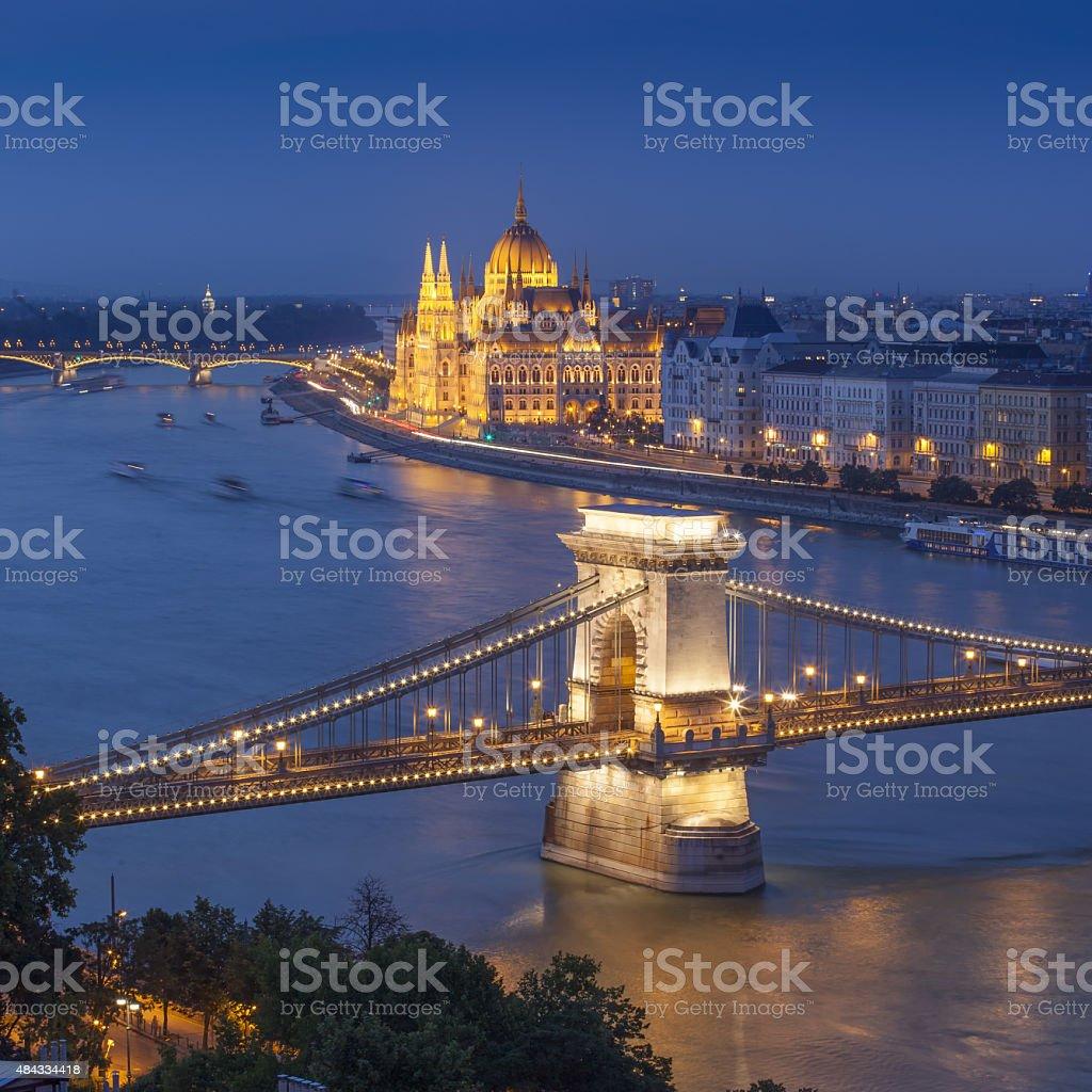 Panorama of Budapest, Hungary stock photo