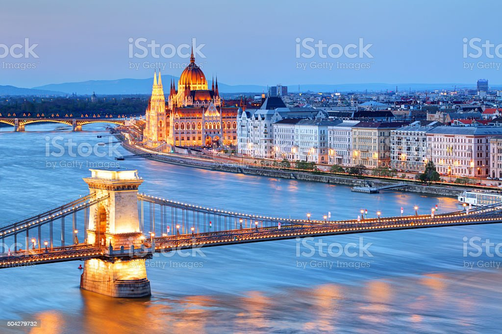 Panorama of Budapest, Hungary, with the Chain Bridge and the Parliament stock photo