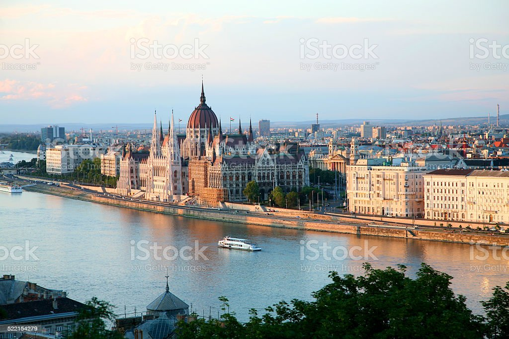 Panorama of Budapest late afternoon with the river stock photo