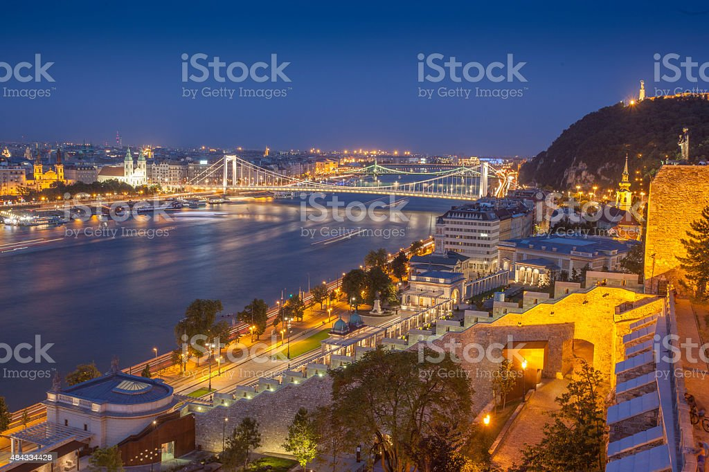 Panorama of budapest with bridge stock photo