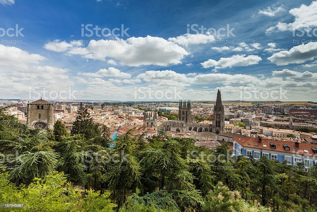 Panorama of Burgos, Spain with the Burghos Cathedral stock photo