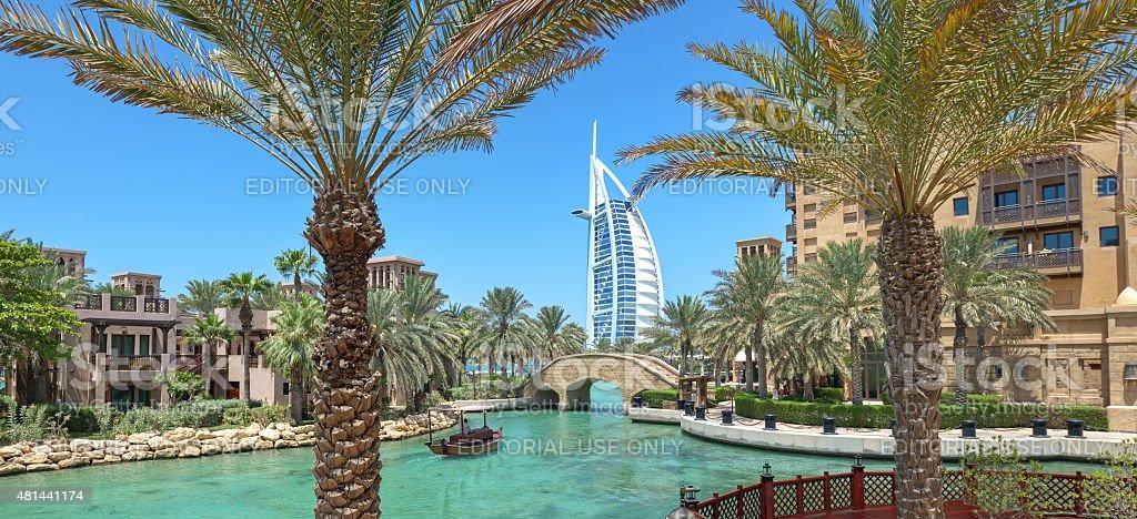 Panorama  of Burj Al Arab hotel  in Dubai stock photo