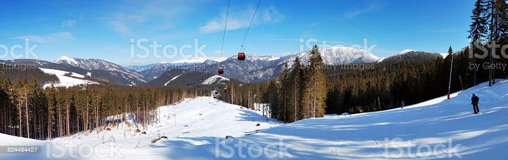 Panorama of cableway in Jasna Low Tatras, Slovakia stock photo