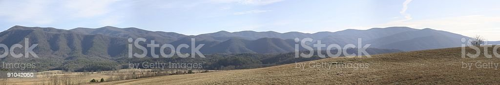 Panorama of Cades Cove stock photo