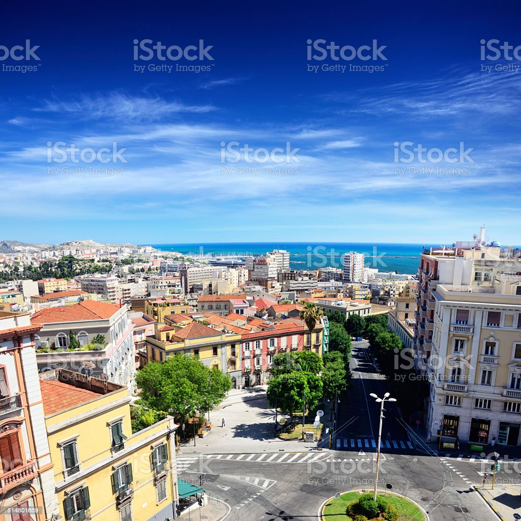Panorama of Cagliari stock photo