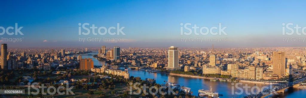 Panorama of Cairo at sunset stock photo