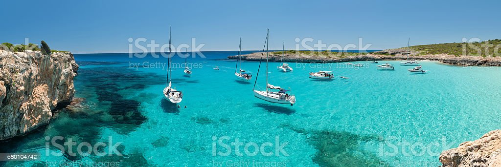 Panorama of Cala Varques Bay with Yachts, Mallorca, Spain stock photo