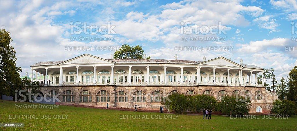 Panorama of Cameron gallery in Catherine's park in Tsarskoe Selo stock photo