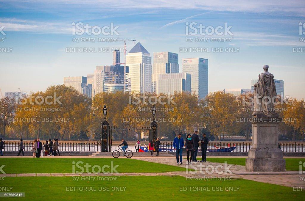 Panorama of Canary Wharf, London stock photo