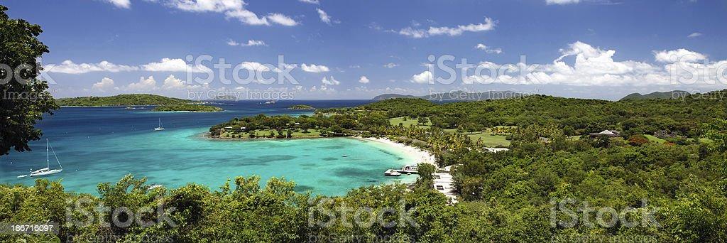 panorama of Caneel Bay Beach, St. John, US Virgin Islands stock photo