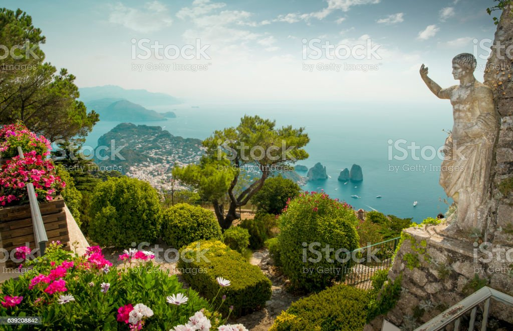 Panorama of Capri Island from Mount Solaro, Italy stock photo