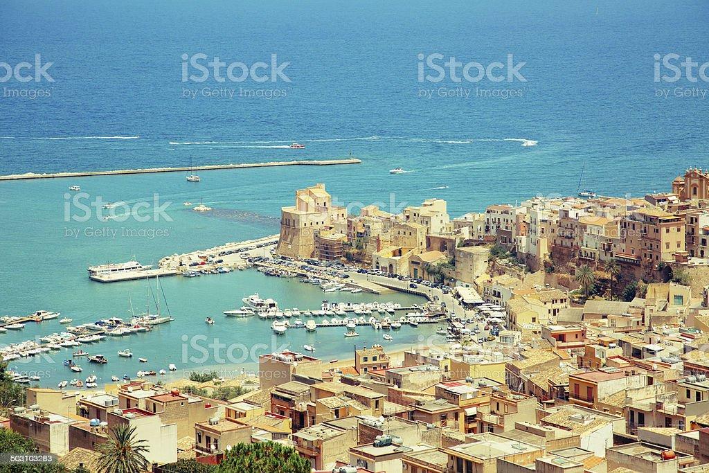 Panorama of Castellammare del golfo, Sicily stock photo